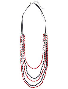 Bead & pearl ribbon necklace