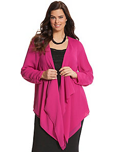 Double layer draped woven cardigan