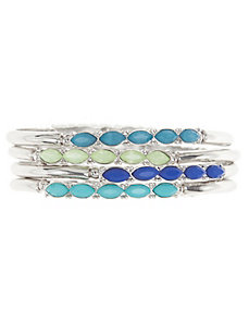 4 row embellished bangle bracelet set