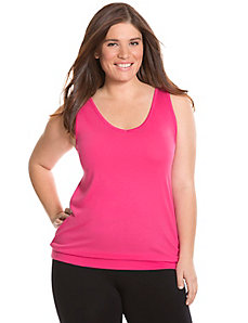 Banded bottom V-neck tank