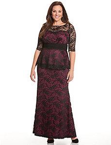 Astoria lace peplum gown by Kiyonna
