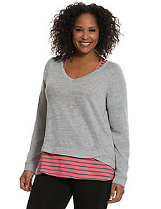 Striped layered-look top