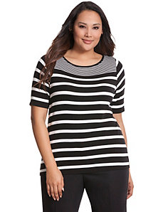 Striped delicate ribbed tee