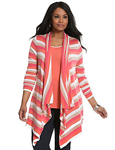 Striped drape front cardigan