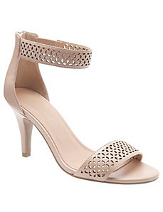 Perforated ankle strap heel