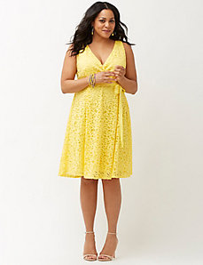 Lace fit & flare dress with bow