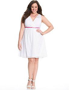 Perforated surplice dress