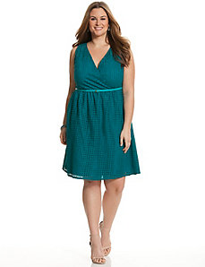 Perforated surplice dress