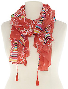 Mixed print scarf with tassels