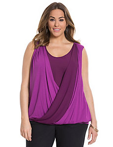 Knit & chiffon surplice top