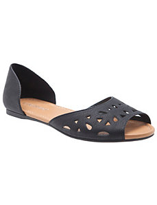 Peep toe flat with cut outs
