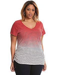 Ombre stripe shirred side tee