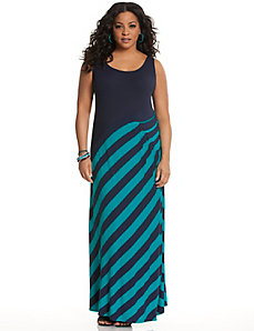 Side pleat striped maxi dress