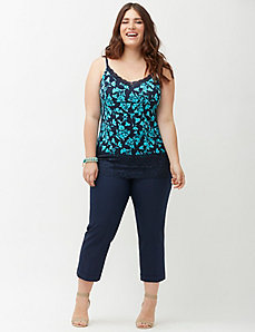 Printed lace trim cami