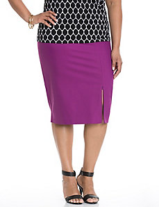 Double weave pencil skirt with zipper slit