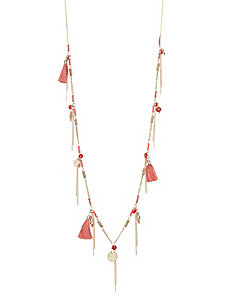 Fringe & bead necklace