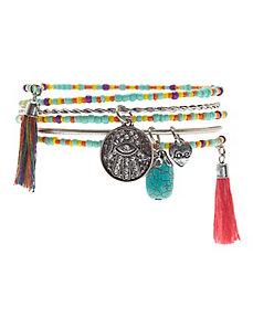 Beaded bangle charm bracelet set