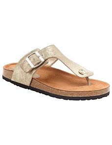 Metallic footbed sandal