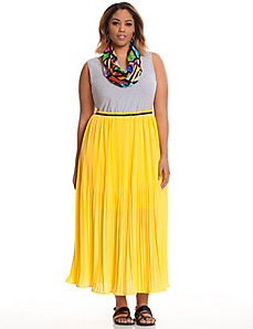 Color pop pleated maxi dress