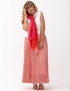 Pleated chevron maxi skirt