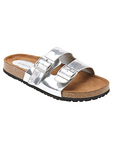 Metallic foot bed sandal