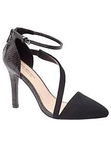 Viviana suede asymmetric strap heel