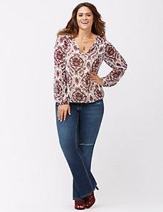 Floral tie-neck peasant top