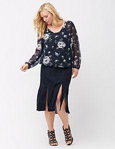 Floral vines tie-neck peasant top
