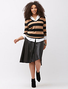 Striped double-V pullover sweater