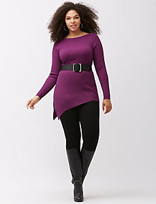 Asymmetric hem ribbed sweater