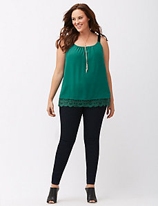 Grosgrain tank with lace hem