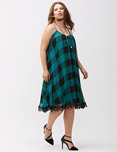Buffalo check slip dress