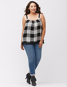 Buffalo check grosgrain tank with lace hem