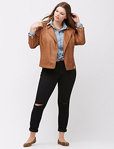 Faux leather jacket with buckles