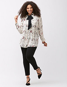 Printed bow blouse by Melissa McCarthy Seven7