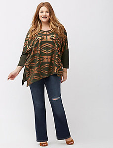 Metallic Aztec print top
