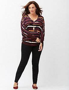 Printed banded bottom wedge tee