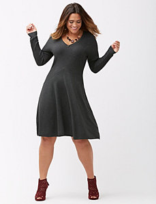 Ribbed fit & flare sweater dress