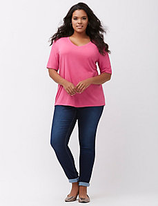 Modest sleeve Supima V-neck tee