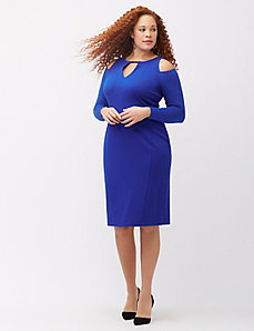 Cold shoulder sheath dress with hardware
