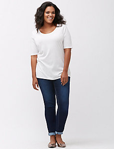 Modest sleeve scoop neck tee