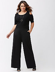 plus size black wide leg pants - Pi Pants