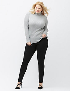 Metallic ribbed turtleneck