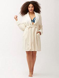 Sherpa trim marled robe