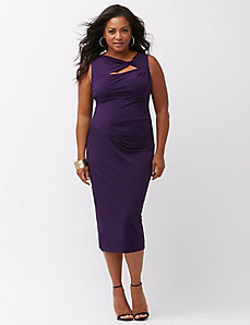 Slimming twist-neck sheath dress