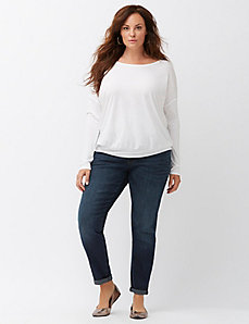 Keyhole back banded bottom tee