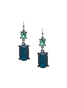 Holiday teal stone drop earrings