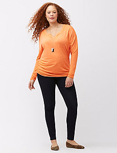 Shirred long sleeve tee