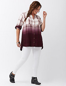 Dip dye plaid shirt