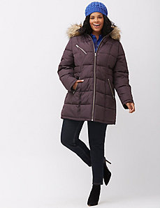 Puffer coat with fur trim